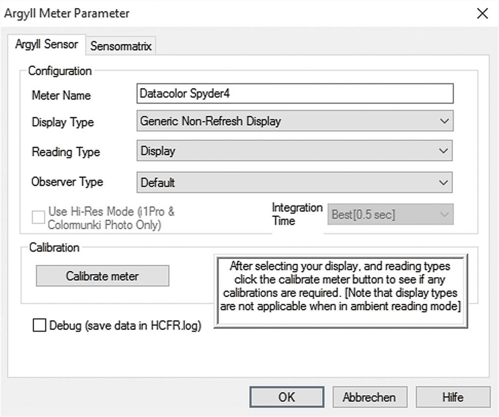 4,1 HCFR Sensor auswählen - Agryll Parameter