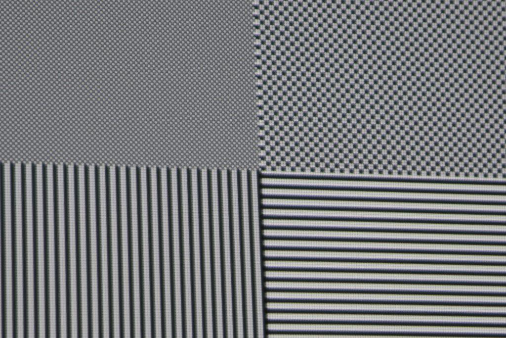 Das Testbild offenbart eindeutig, dass der ViewSonic Pro7827HD alle Details bis in Full-HD-Pixelauflösung mit vollem Kontrast darstellt.