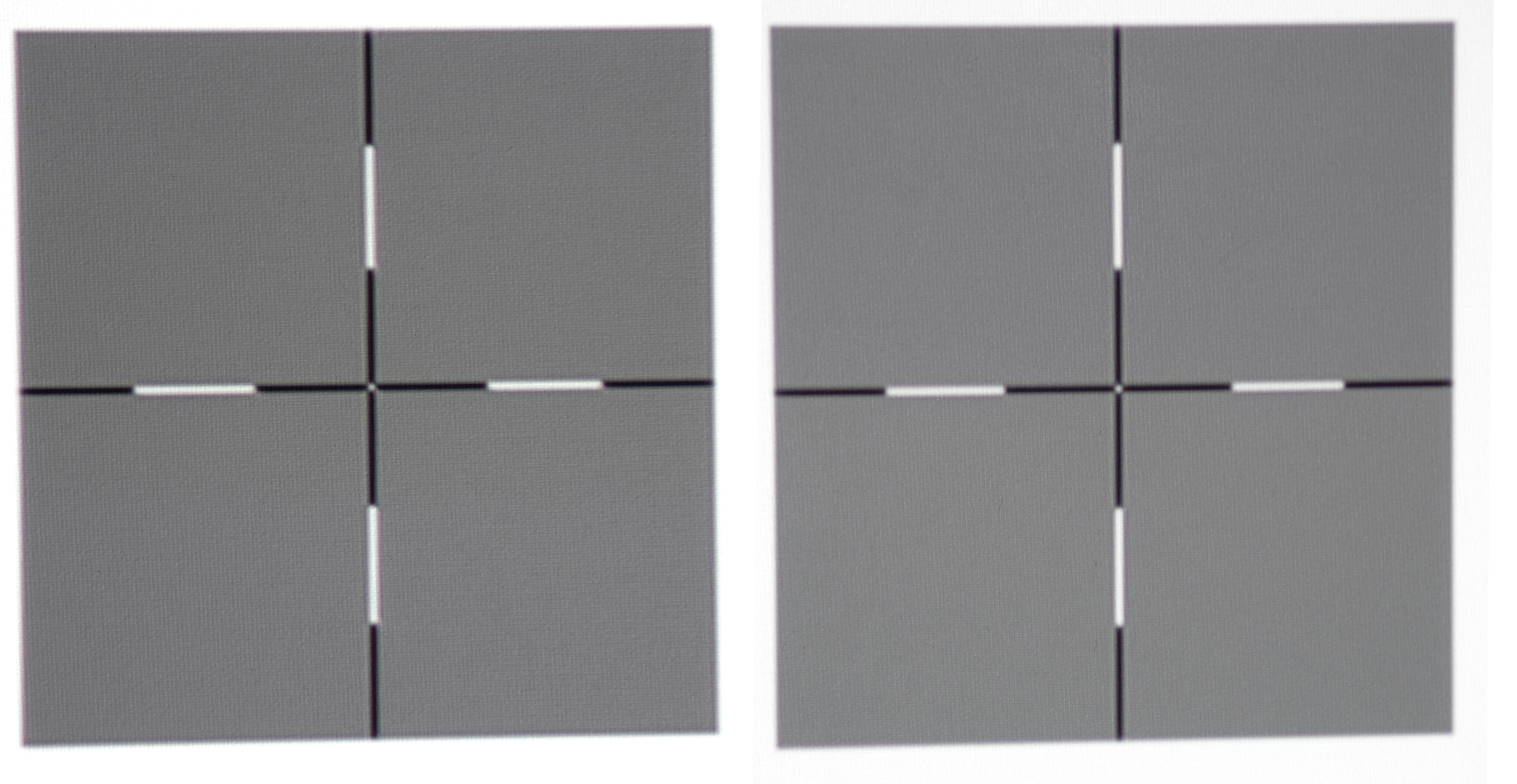 Ausleuchtung: Wie gleichmäßig der BenQ W1700 sein Licht auf die Leinwand wirft, offenbart mein Uniformity-Testbild. Das Kreuz in Pixelauflösung am linken Bildrand (Kreuz links) unterscheidet sich kaum vom Kreuz, das auf dem Testbild in der Bildmitte (Kreuz rechts) dargestellt wird.