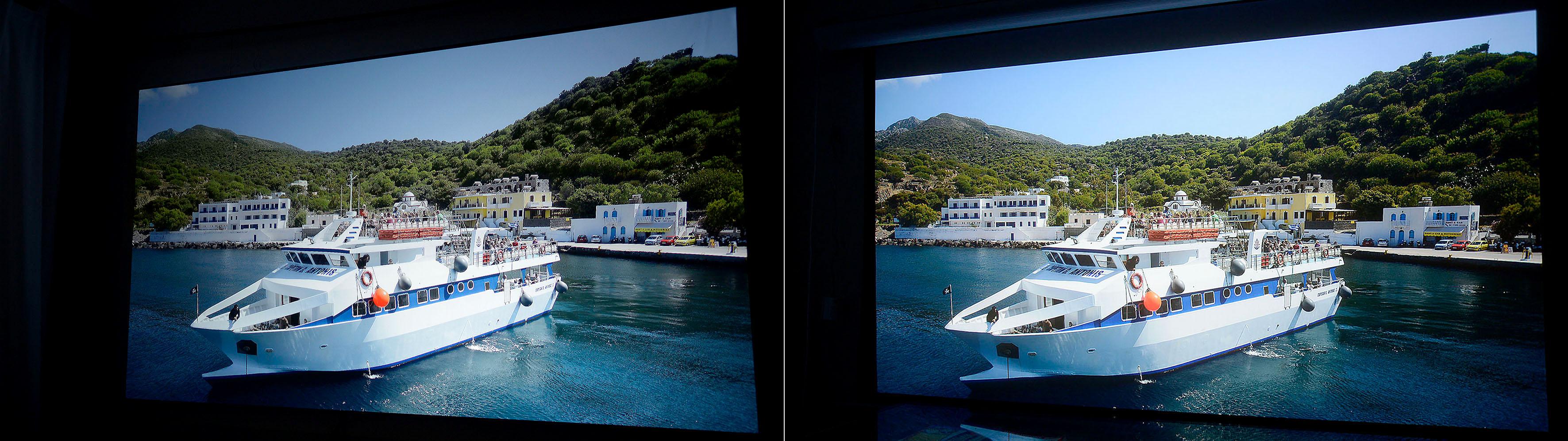 Foto: Michael B. Rehders Links: BenQ W1700 auf Aeon Cinegrey 3D Rechts: JVC DLA-X5500 auf Saker Tab Tension
