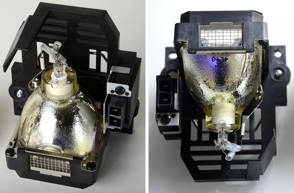 JVC vs Plagiat - links Original-JVC-Lampe, rechts Original-JVC.Ersatzlampe - Foto: Michael B. Rehders