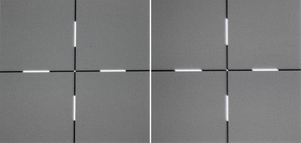 Schärfe: Die Schärfe ist über das gesamte Bild auf einem guten Niveau. Das Kreuz in Pixelauflösung am Bildrand (links) wird ebenso scharf abgebildet wie das Kreuz in der Bildmitte (rechts). Auffällig ist auch die gute Helligkeitsverteilung. Zum Rand hin bleibt die Helligkeit auf der Leinwand erhalten.