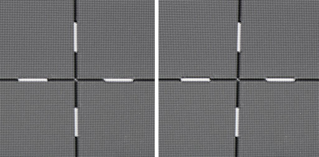 Pixelauflösung und Uniformity: Die Fadenkreuze liegen in Full-HD-Pixelauflösung vor. In der Leinwandmitte (Bild rechts) ist das Fadenkreuz knackscharf. Das Kreuz auf der linken Leinwandseite (Bild links) verliert keinerlei Schärfe. Ebenso ist mit bloßem Auge kein Helligkeitsabfall zu den Rändern zu erkennen.