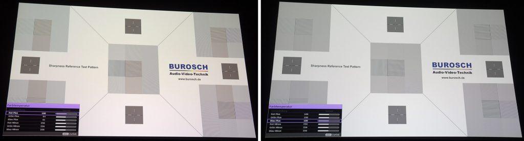 """Das Burosch-Testbild erscheint in der Werkseinstellung des THX-Modus leicht verfärbt (links). Sobald die """"Grün Plus""""- und """"Blau Plus""""-Regler auf 100 gesetzt werden, ist die Verfärbung weg. Das Testbild erscheint nun vollständig farbneutral in Schwarz/Weiß."""
