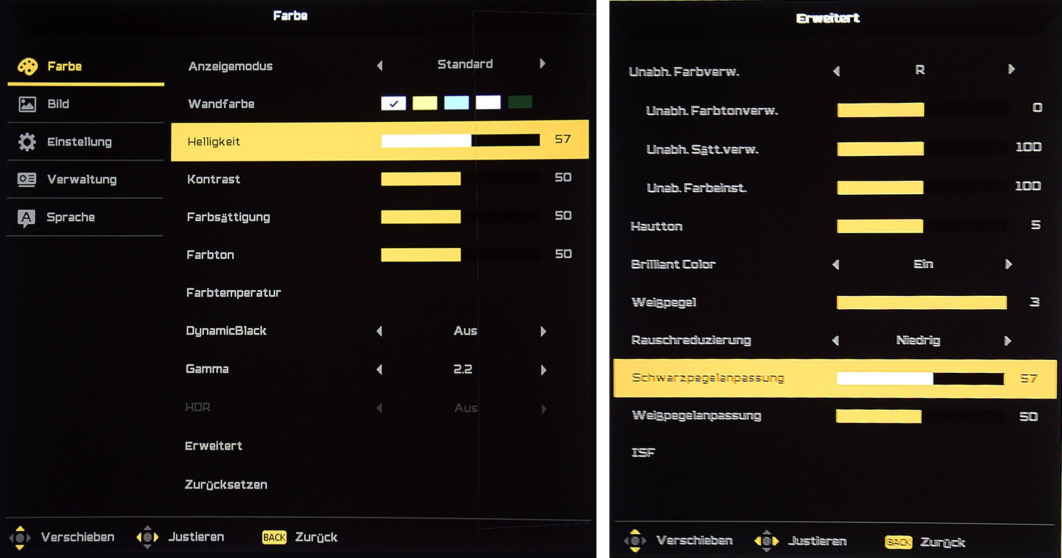 Acer V9800 - Screenshot - Schwarzwertanpassung vs. Helligkeit