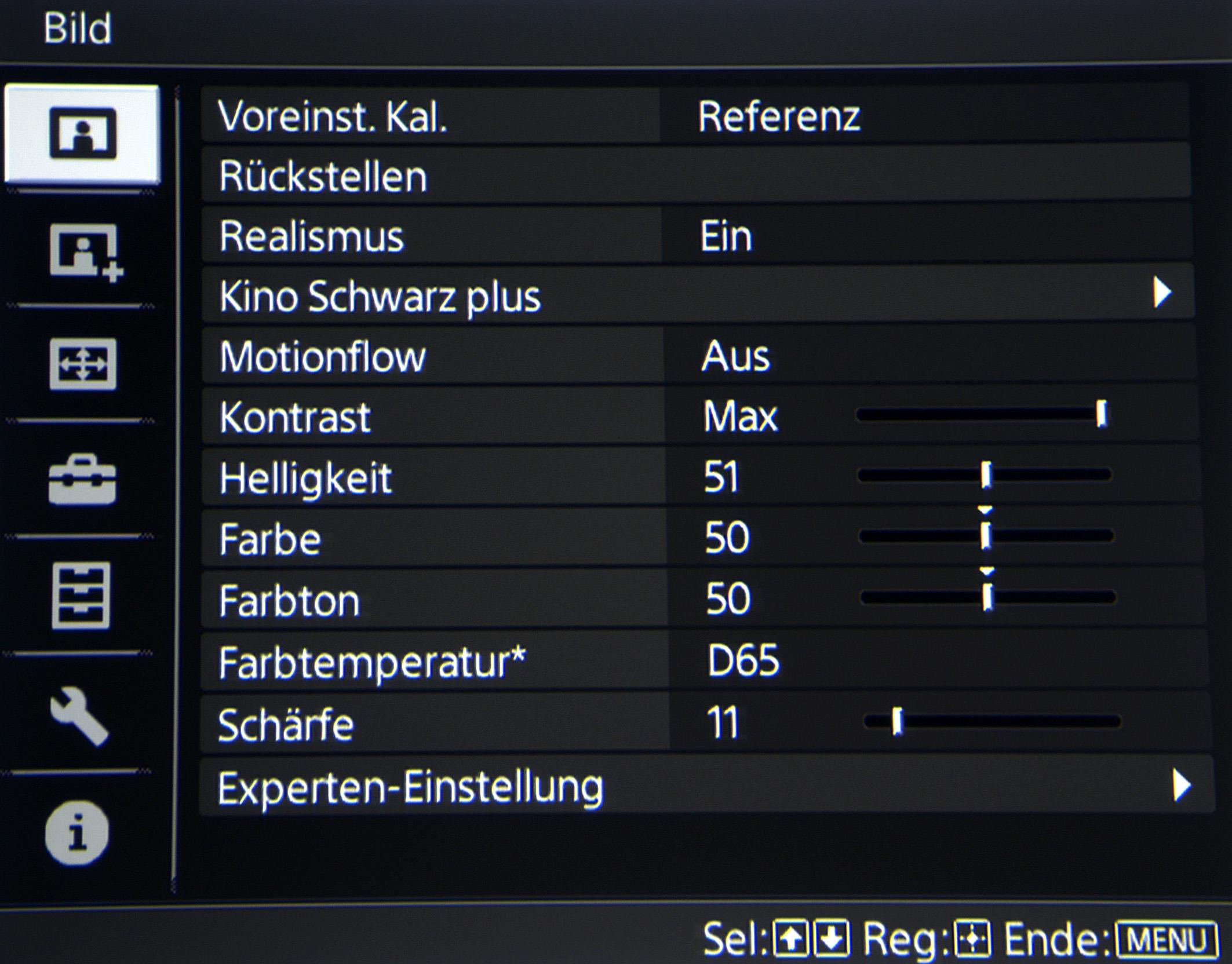Sony VPL-VW550 - Bildmenü BILD