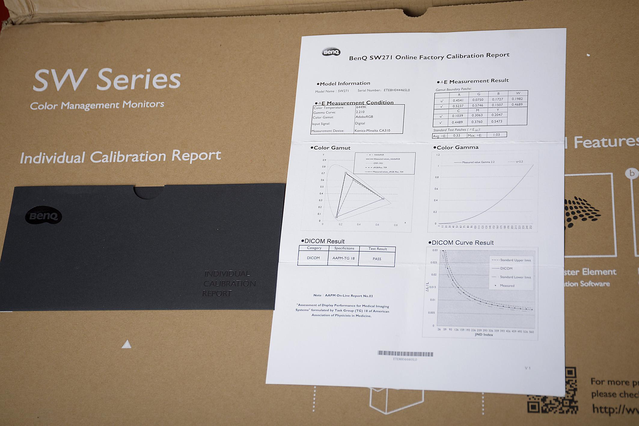 BenQ legt jedem Color Management Display der SW-Reihe einen individuellen Kalibrierungs-Report bei. Dieser weist aus, inwiefern der Bildschirm vor der Auslieferung bereits eingestellt wurde. Foto: Michael B. Rehders