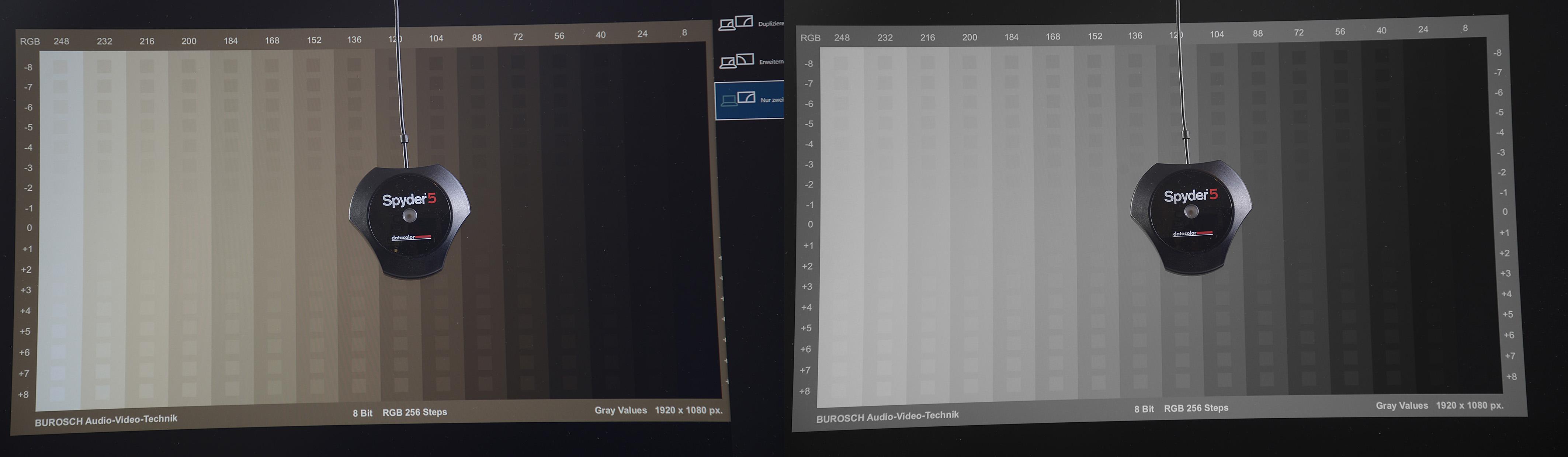 Links ist die Grautreppe so zu sehen, wie mein Notebook sie ausgibt. Die rotbraunen Verfärbungen einzelner Abstufungen sind deutlich zu erkennen. Nach der Hardwarekalibrierung (rechts) werden alle Abstufungen farbneutral und somit farbkorrekt dargestellt.