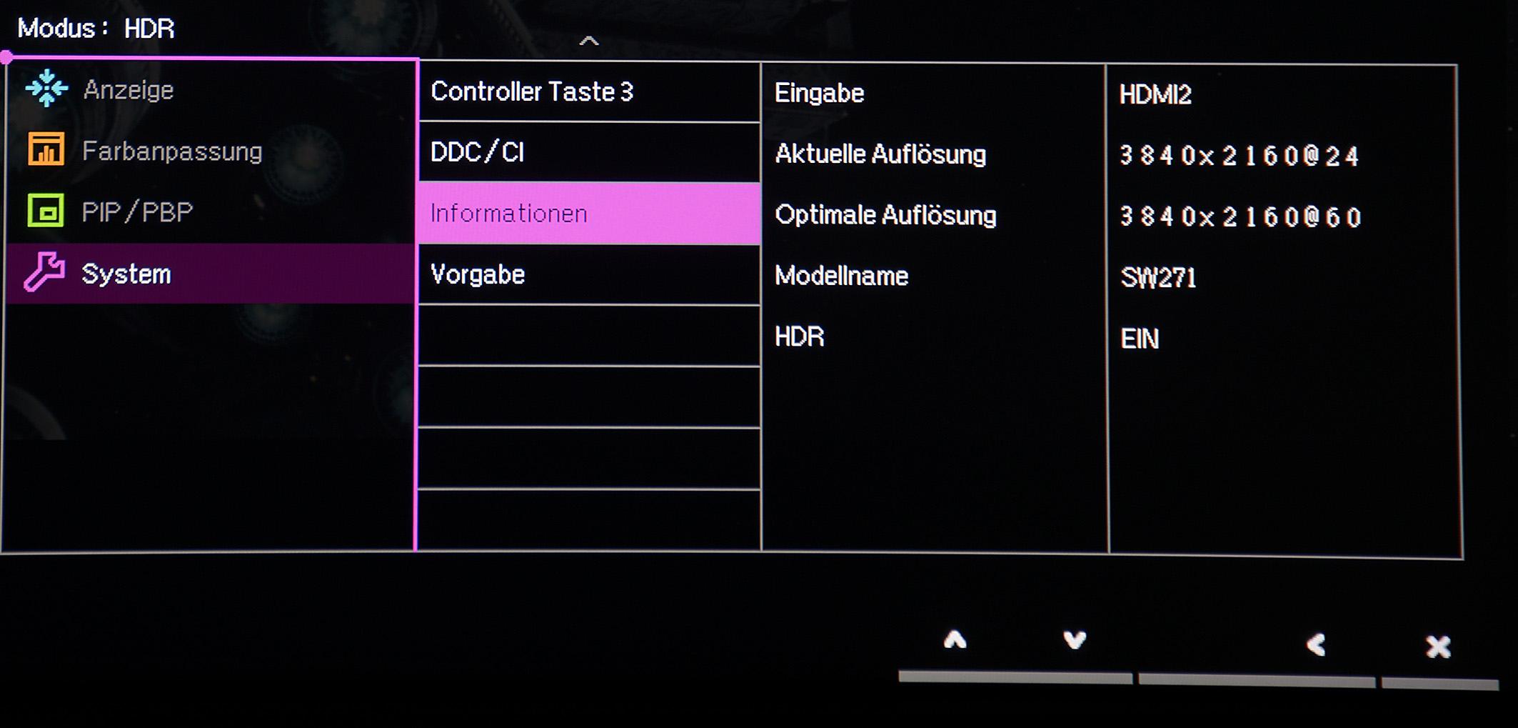 """Die Info-Anzeige des BenQ SW271 stellt unter Beweis, dass der Blockbuster """"Alien: Covenant"""" in HDR und mit einer Auflösung von 3840 x 2160 Pixeln wiedergegeben wird. Foto: Michael B. Rehders"""