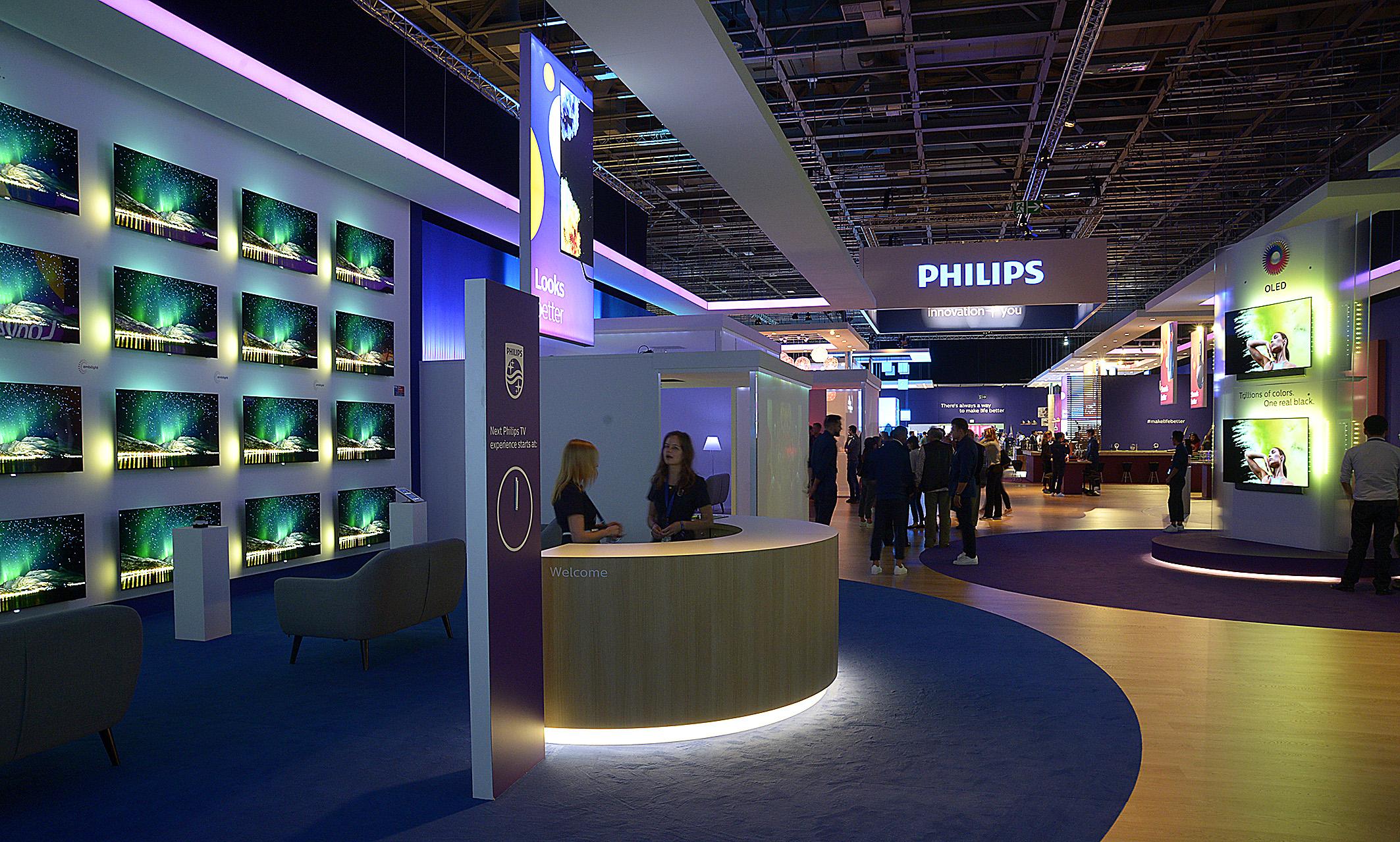 Foto: Michael B. Rehders Am Pressetag war es angenehm leer bei Philips. Das wird sich spätestens heute öffnen, wenn die IFA die Pforten für alle Besucher öffnet.