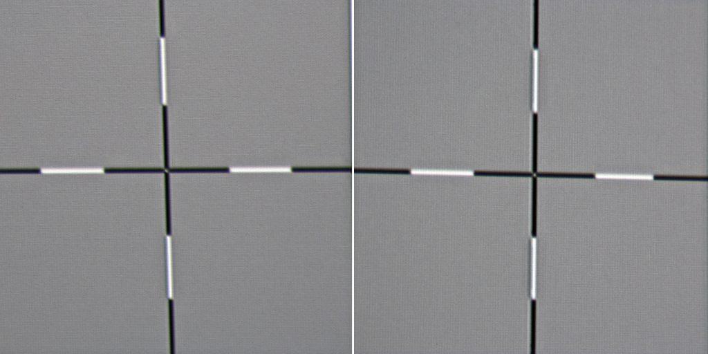 Foto Michael B. Rehders Helligkeitsverteilung: Nur ganz selten habe ich bei einem Projektor erlebt, dass dieser über die gesamte Bildfläche praktisch keinen Helligkeitsverlust aufweist. Am linken Bildrand (Kreuz links) ist das Bild nahezu ebenso hell wie in der Bildmitte (Kreuz rechts). Kompliment dafür an JVC.