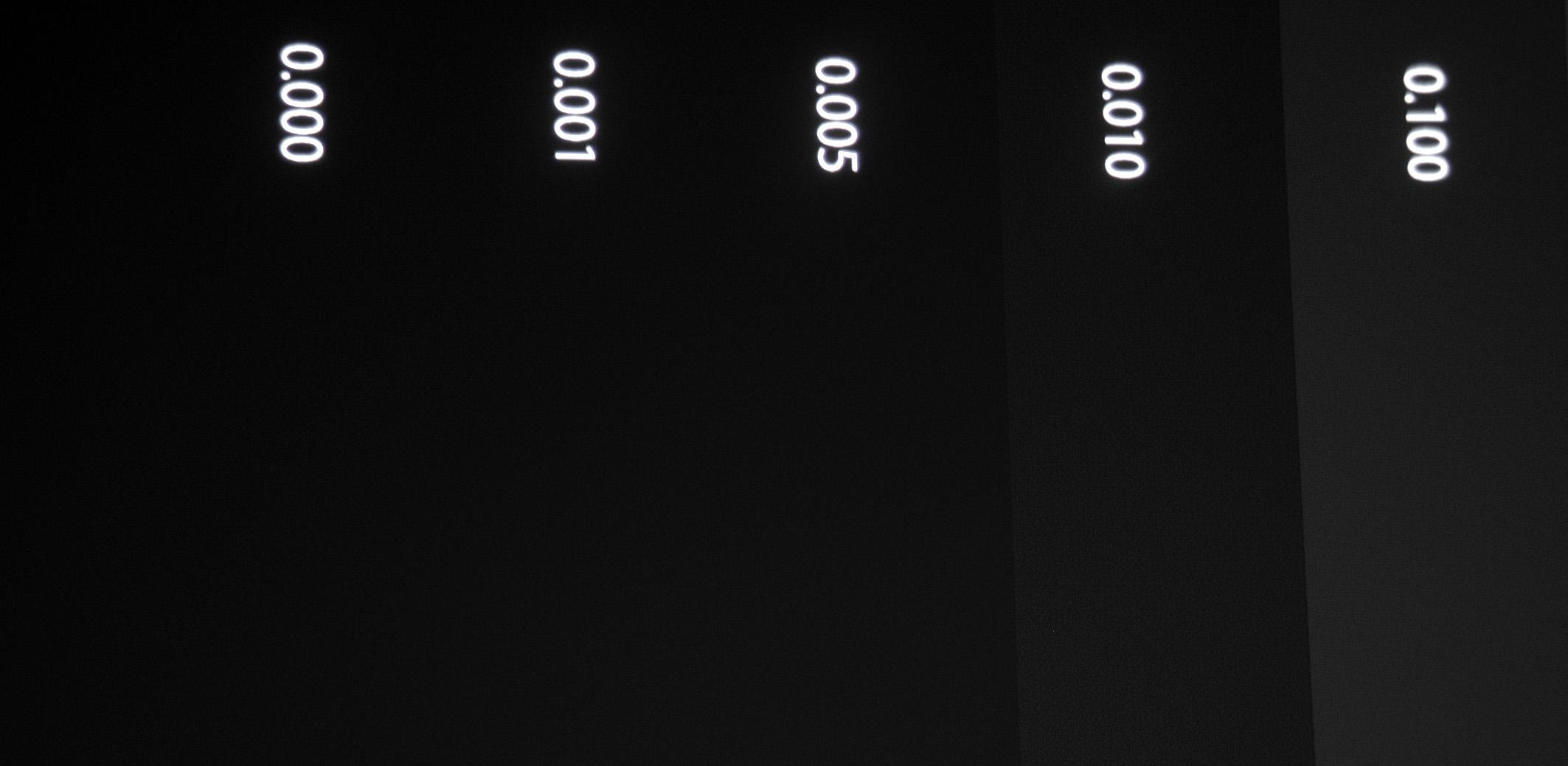 Die dunklen Bereiche des Testbildes weisen eine vorzügliche Durchzeichnung auf. Erstaunlich ist allenfalls, dass zwischen 0.001 und 0.005 keine Abstufung besteht, während zwischen 0.001 und 0.000 Nits eine Abstufung erkennbar und messbar ist. Ab Werk ist das Clipping so eingestellt, dass erst oberhalb von1000 Nits nichts mehr sichtbar ist.