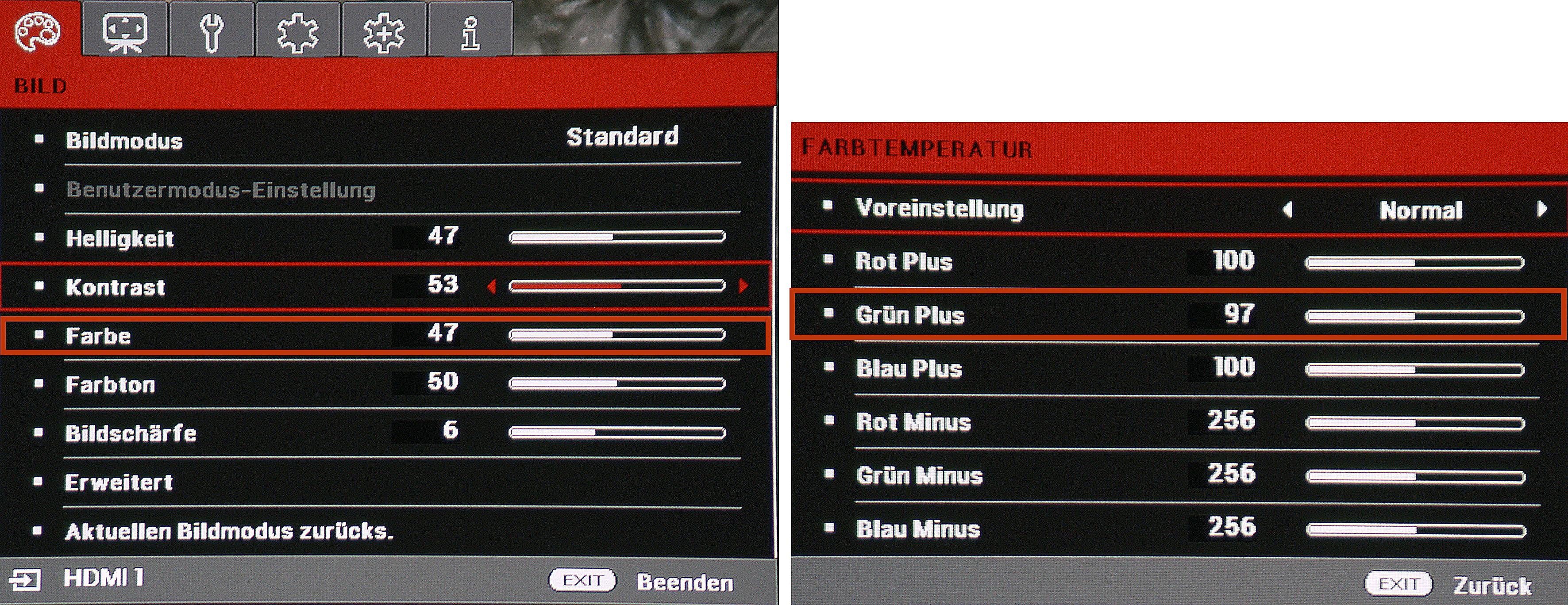 ViewSonic macht es den Nutzern recht einfach. Es brauchen lediglich die Rot umrandeten Parameter wie angegeben eingestellt werden, um natürliche Farben zu erhalten.
