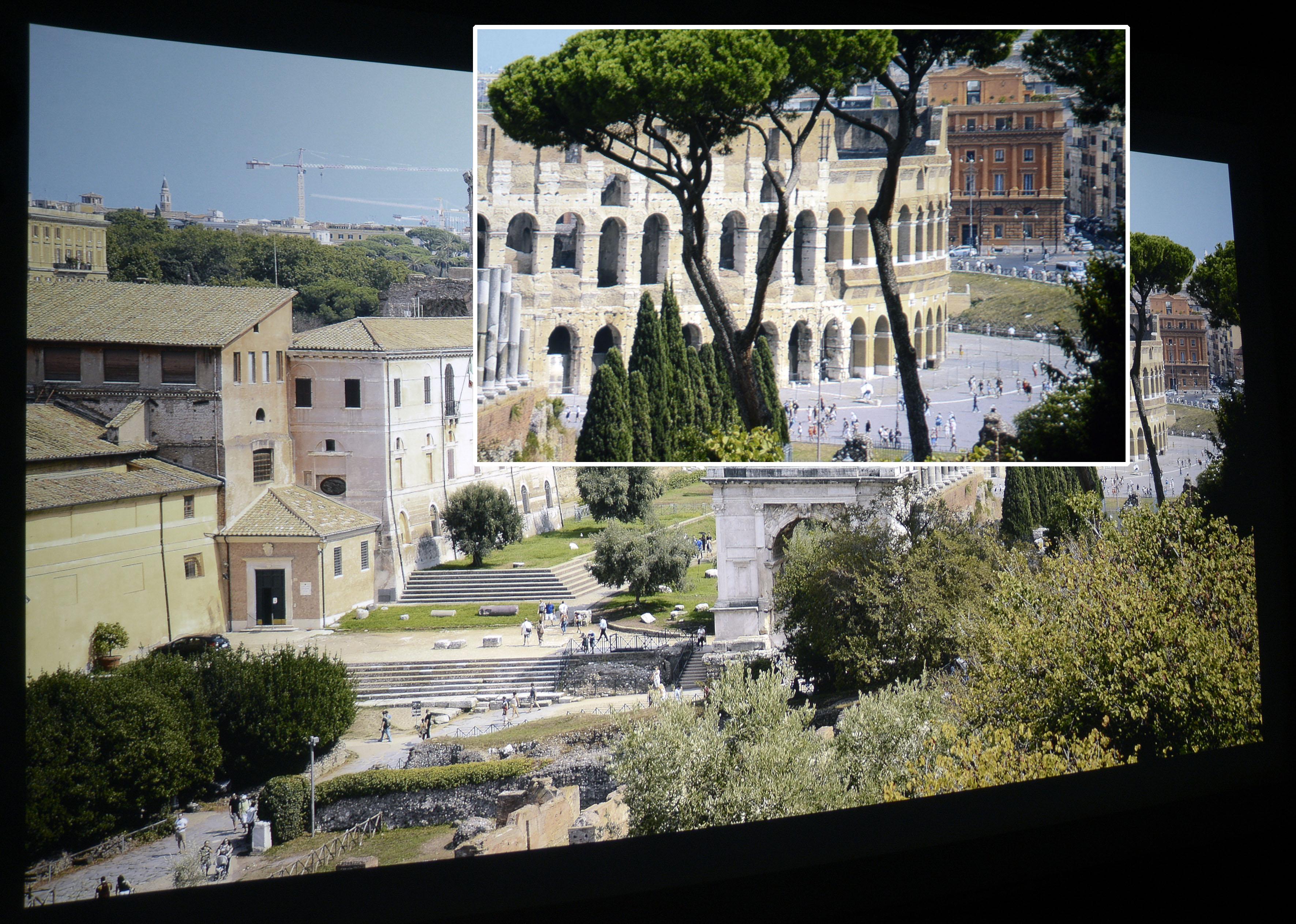 Foto: Michael B. Rehders Auch meine Panoramaaufnahme von Rom besticht mit dem ViewSonic PX747-4K. Die Ausschnittsvergrößerung deckt auf, dass einzelne Personen vor dem Kolosseum differenziert zu sehen sind. Gleichwohl das grüne Farbspektrum eingeschränkt ist, sehen die Bäume realistisch aus. Die Steine des rot-braunen Gebäudes im Hintergrund weist alle Mauersteine aus.