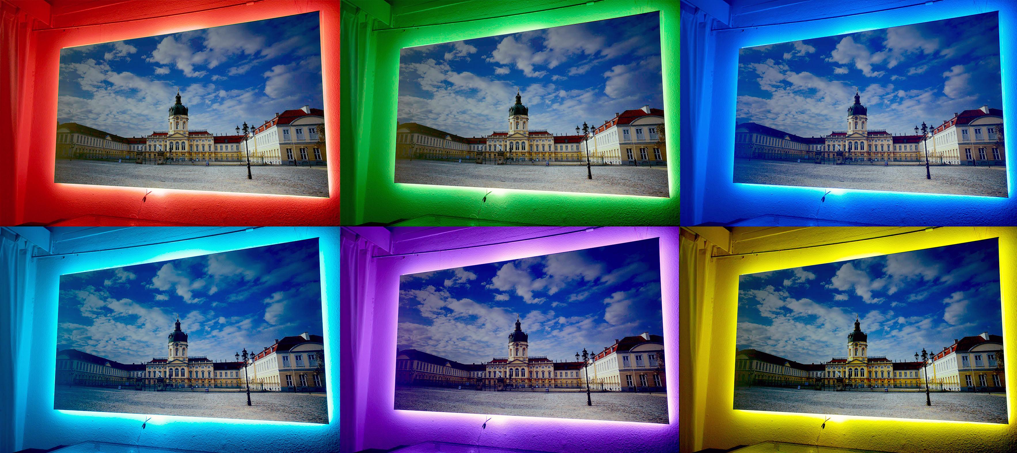 Foto: Michael B. Rehders Die farbenfrohe LED-Hintergrundbeleuchtung sorgt für den richtigen Rahmen um die rahmenlosen Elite Screens Aeon Cinegrey 3D.
