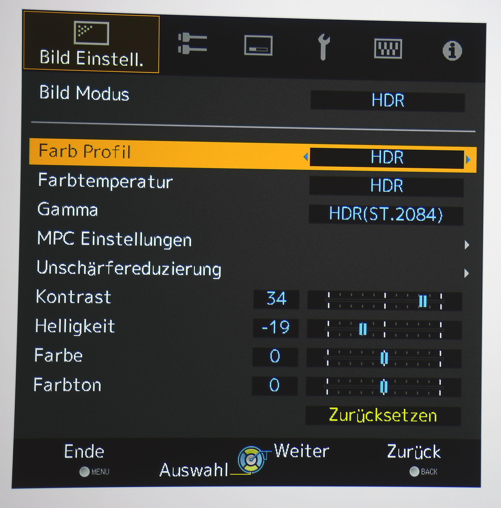 """HDR: Das Farbprofil """"HDR"""" ist ab Werk eingestellt."""