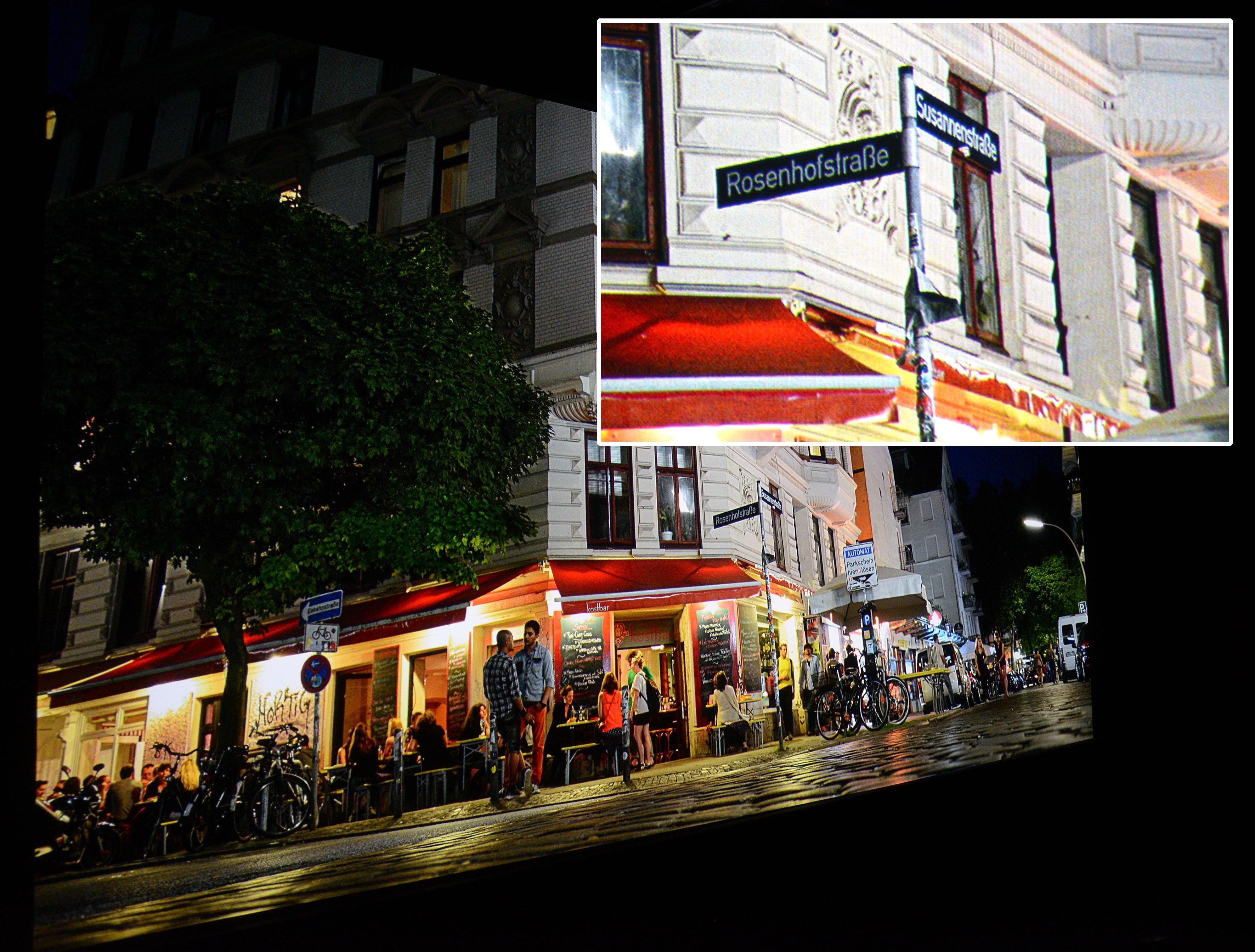 Foto: Michael B. Rehders Die Nachtaufnahme aus dem Schanzenviertel in Hamburg beeindruckt mit abgrundtiefem Schwarz und hellsten Spitzlichtern, die unfassbar viel Zeichnung besitzen. Sogar einzelne Sterne sind am Himmel zu sehen, die von anderen Projektoren noch unterschlagen werden. Selbst die Straßenschilder sind perfekt lesbar, wie auf dem Ausschnitt zu sehen ist.