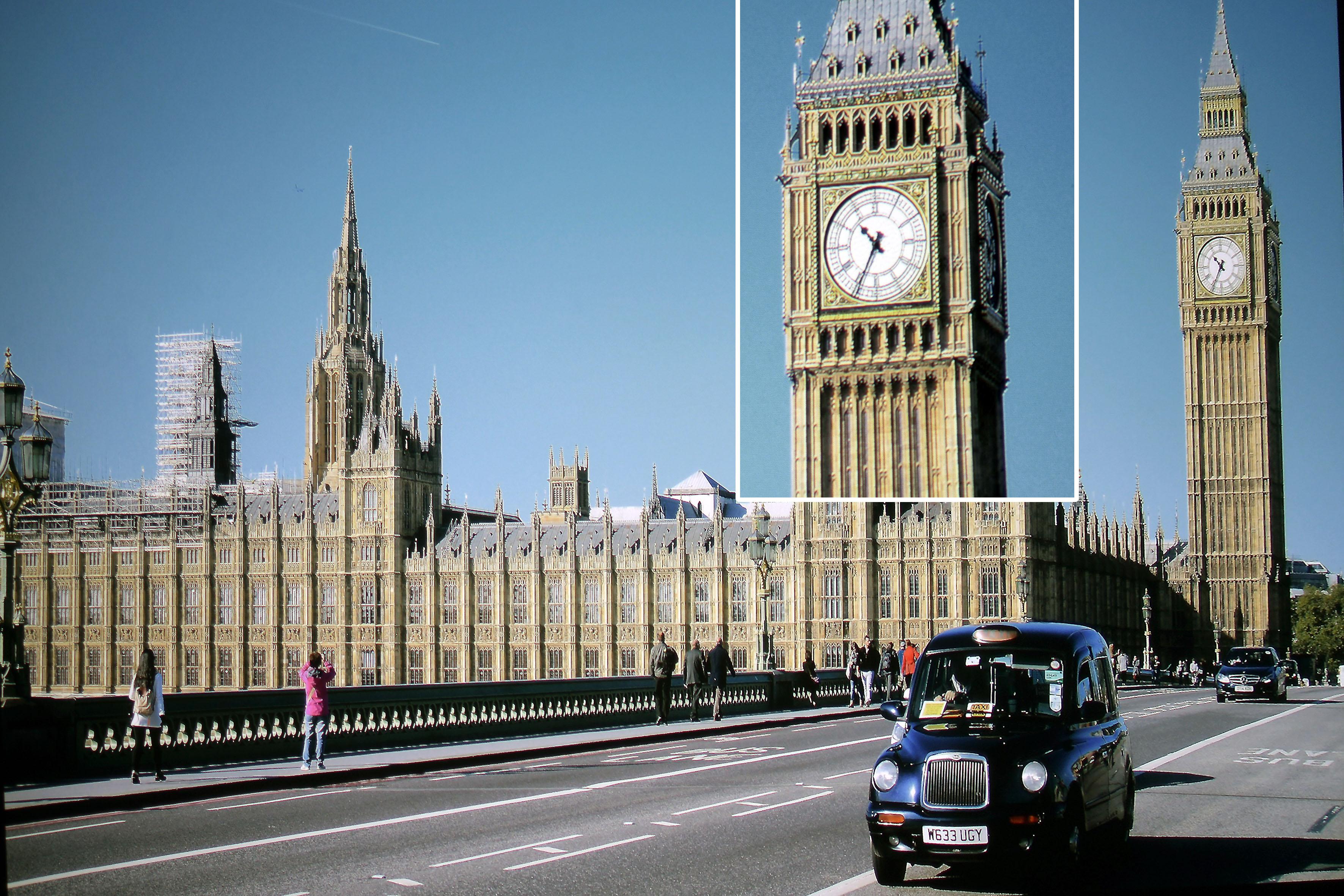 Foto: Michael B. Rehders (Originalaufnahme) Die Ausschnittsvergrößerung meiner Aufnahme aus London deckt auf, dass die Minutenanzeige auf der Uhr am Big Ben vollständig projiziert wird.