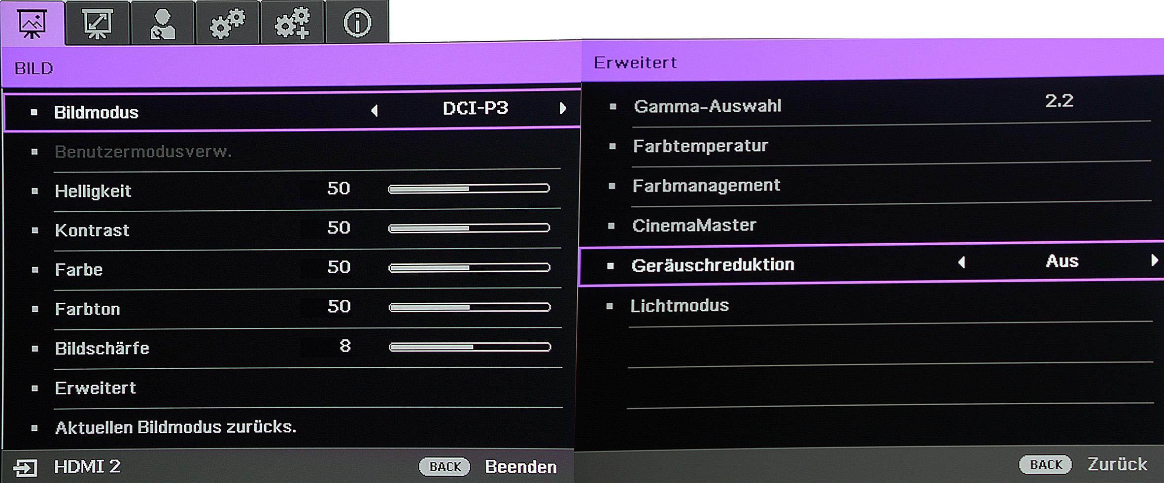 """Mit einem kleinen Kniff können HDR-Filme auf dem BenQ X12000 mit 3840 x 2160 Pixel durch XPR-Shift inklusive erweitertem Farbraum projiziert werden. """"Geräuschreduktion"""" sollte unbedingt ausgeschaltet werden, weil es sich hier um einen Weichzeichner handelt. Das Preset wurde von BenQ leider falsch ins Deutsche übersetzt."""