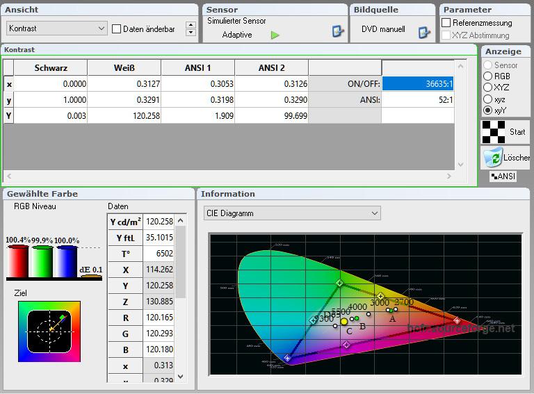 06 - WS Spalluto LS 7 Black Diamond - Messung Wohnzimmer - Kontrast - Alphaluxx Barium 8K kalibriert