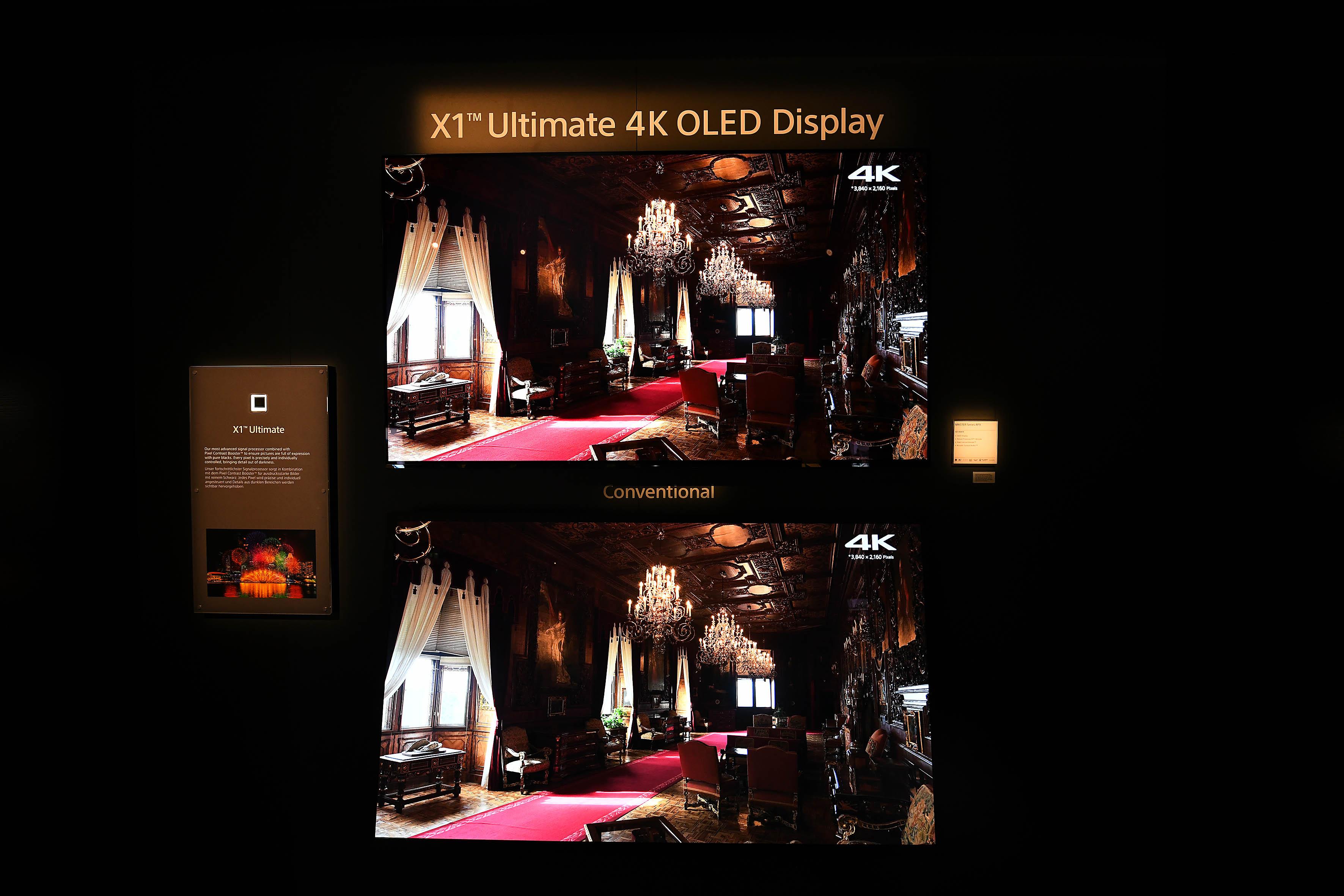 Foto: Michael B. Rehders TV-Geräte soweit das Auge reicht. Um die Stärken des neuen X1-Ultimate-Chips zu demonstrieren, können alte und neue OLED-Geräte miteinander verglichen werden.