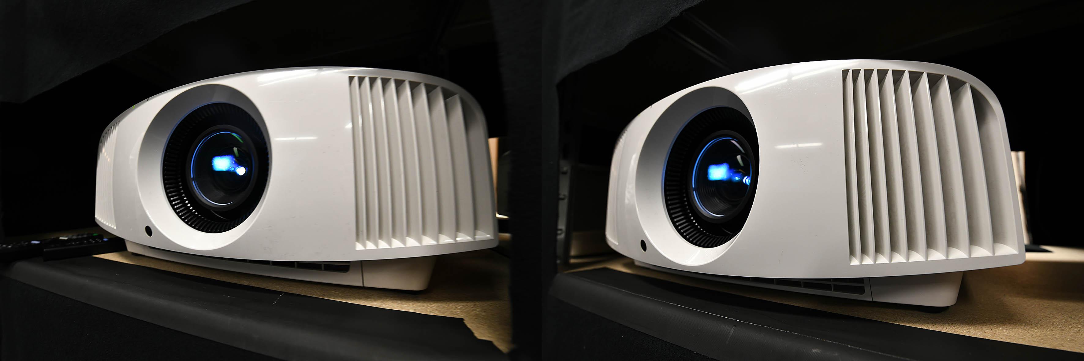 Foto: Michael B. Rehders Links Sony VPL-VW270 / Rechts Sony VPL-VW260 Wer genau hinschaut, erkennt unter dem Objektiv einen Lufteinsaug-Stutzen mit Gitter davor. Unter dem Gitter ist der neue Sony VPL-VW270 einen Zentimeter tiefer. Diese kleine Designänderung ermöglicht es laut Sony, dass nun das neue 4K-Board mit Motionflow auch für 4K genutzt werden kann, weil die Kühlung durch die bauliche Veränderung gewährleistet ist.