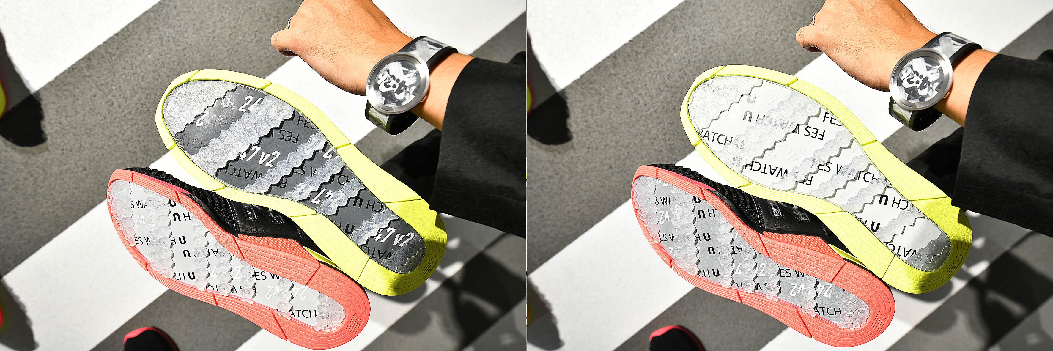 Foto: Michael B. Rehders Megaklasse: Diese Sneakers verändern die Farben ihren Sohlen. Gesteuert wird Farbe und Styling über die Smartfunktion einer Uhr. Sehr innovativ, das sofort ein Habenwollen-Gefühl erzeugt.