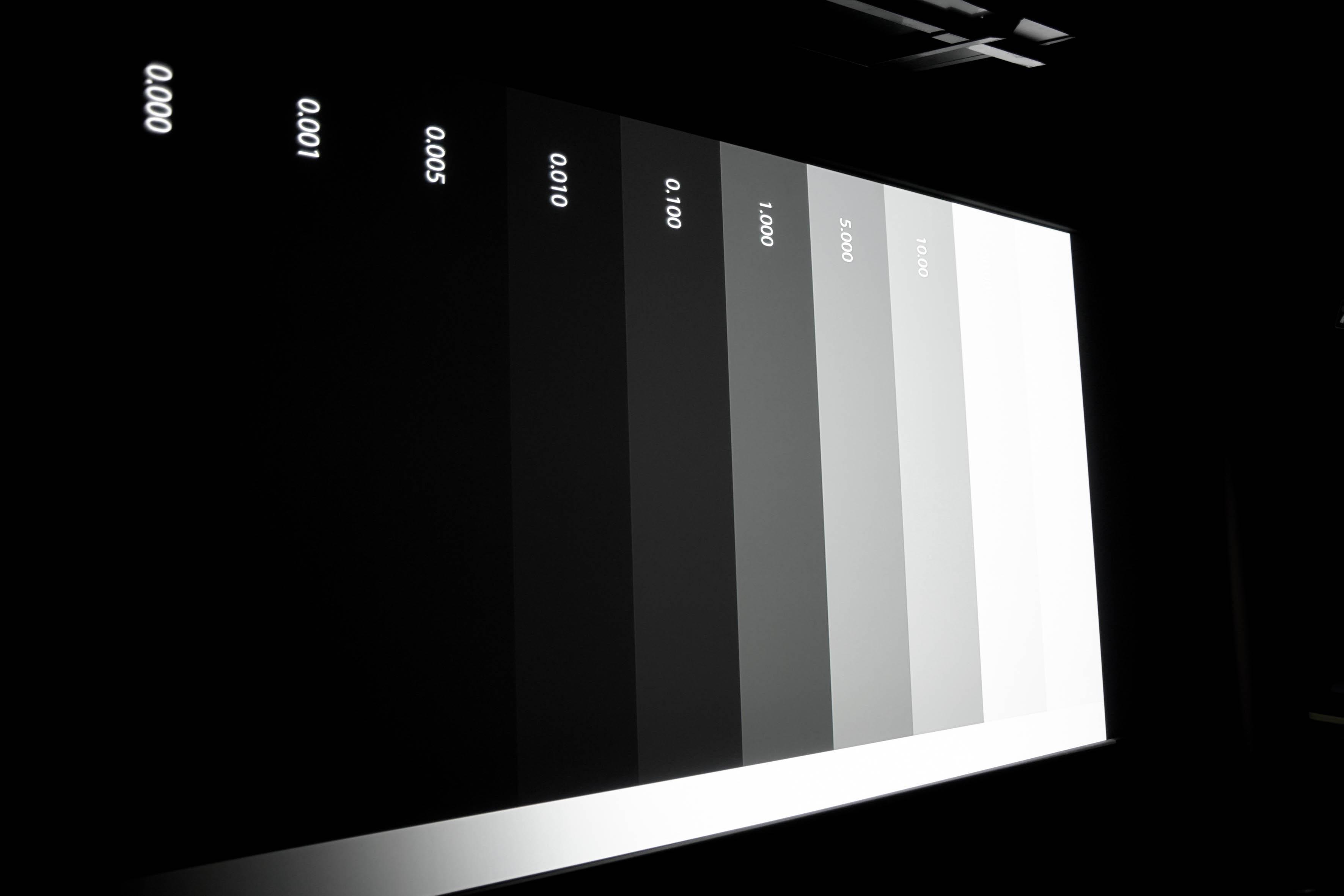Es sind alle Abstufungen ab 0,005 Nits zu sehen. 0,001 Nits ist das bestmögliche Schwarz.