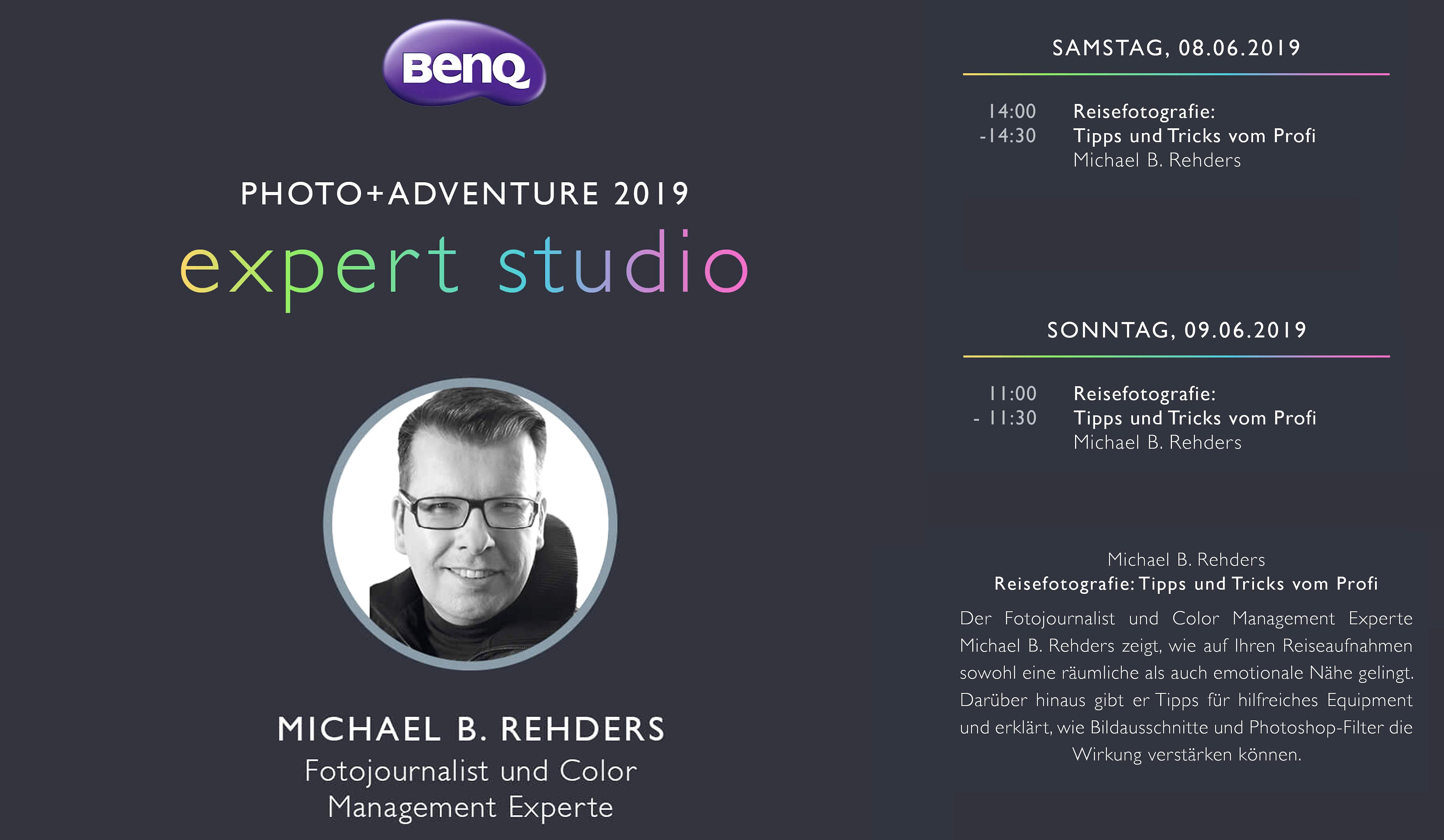 Mein vollständiges Vortragsprogramm auf dem Stand von BenQ.