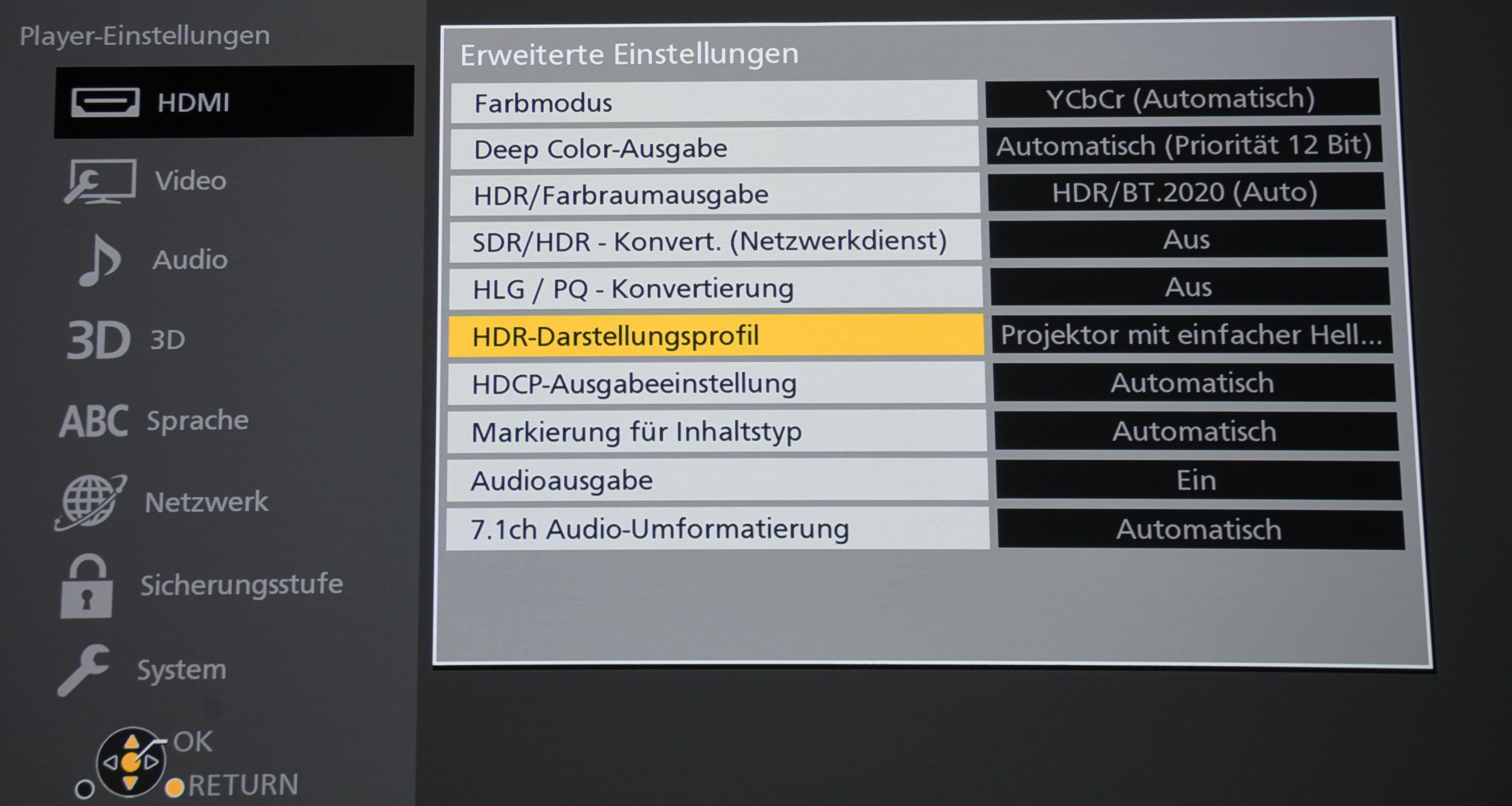 Bildmenü des Panasonic DP-UB9004 – Optimale Einstellung für Projektoren, wenn HDR-Content ausgegeben werden soll.