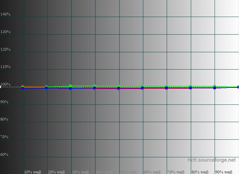 Graustufenverlauf in der Vergrößerung: Gamma und Farbtemperaturverlauf sind auf absolutem Referenzniveau.