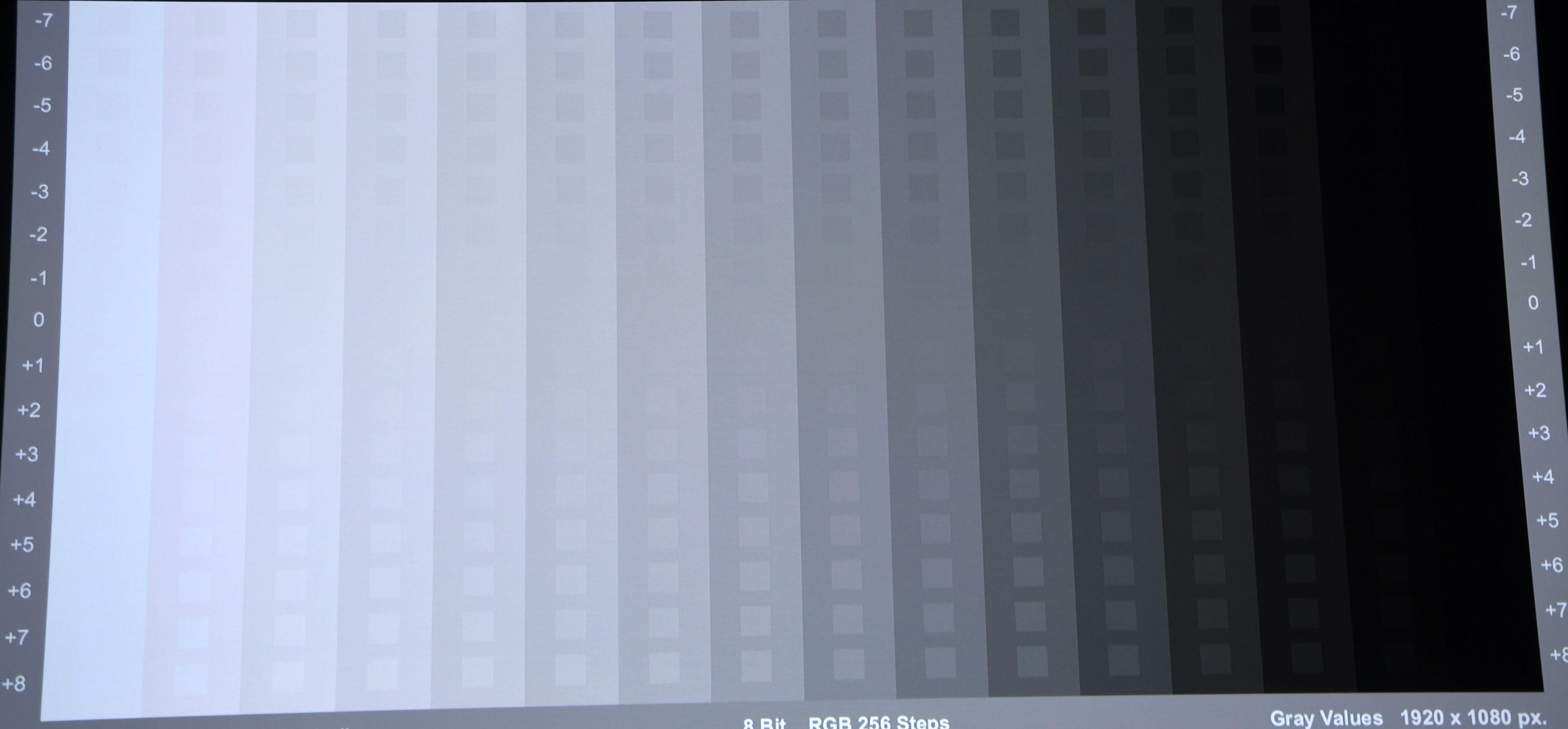 Grautreppe von Burosch: In der Werkseinstellung (Bildmodus TV) sind Blauüberschuss und Farbclipping gut zu erkennen. Vor allem die hellen Bereiche leiden ein wenig unter den sichtbaren Verfärbungen. Außerdem gehen Details nahe Weiß und Schwarz verloren.