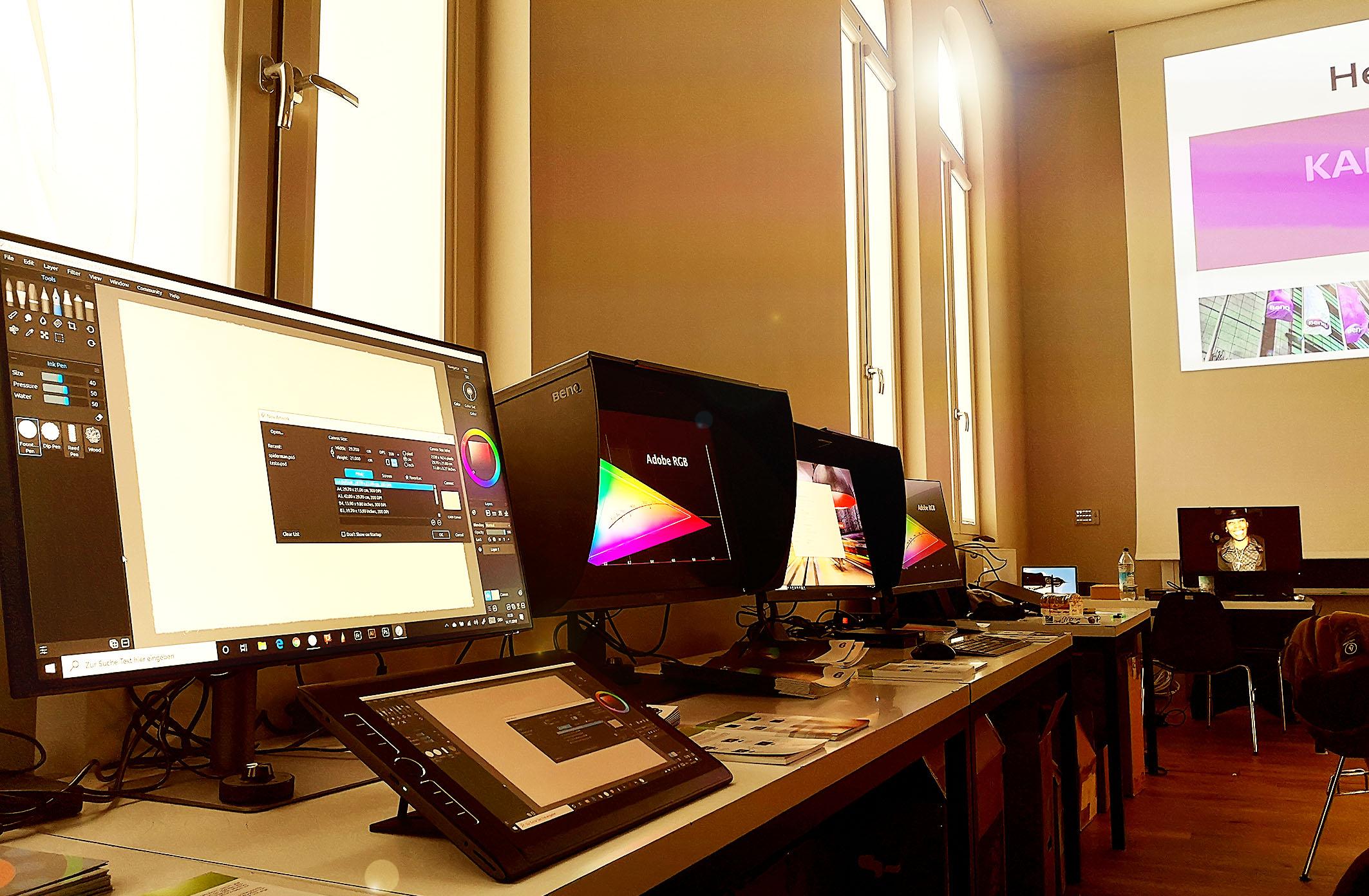 Foto: Michael B. Rehders - Die komplette PhotoVue Serie von BenQ stand zur Verfügug. Dazu der 32-Zoll Designmonitor PD3220U mit UHD-Auflösung und zahlreiche Tablets von Wacom, von denen am Ende sogar einer verlost worden ist.